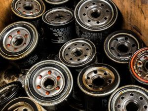 Dirty used oil filters