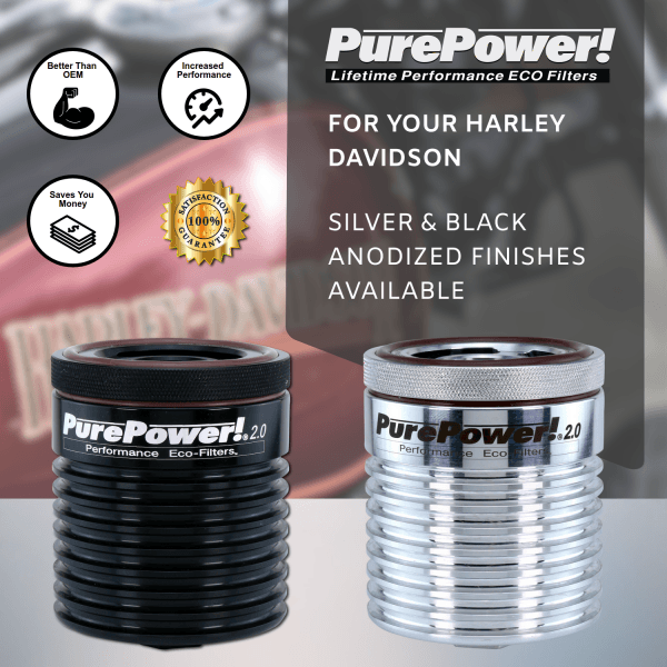 Harley Davidson motorcycle lifetime oil filters in silver and black